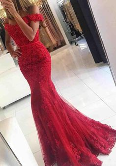 Red Beading Applique Prom Dress, Custom Made,Off The Shoulder Party Dress,Fishtail prom dress,