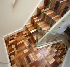 Striking reclaimed timber staircase with glass balustrade and steel stringers. Stairporn has been cited as an influence which is really nice to hear. Any other stairporn influenced stairs out there? Submit a post so we can all see. Via David Bucknall Cabinets