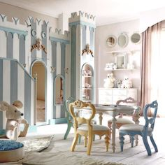 Our exclusive Notte Fatata castle bed paired with our adorable kids table and chair set. Heirloom quality to last generations. Made in Florence Italy. #ptbaby #onlyatpetittresor #nurserydecor #playroom