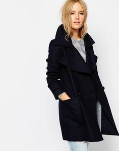 ASOS+Military+Double+Breasted+Overcoat+with+Oversized+Collar