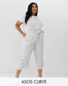 ASOS DESIGN Curve - Gonna pantalone in lino a righe con allacciatura in vita 935ae2f8081