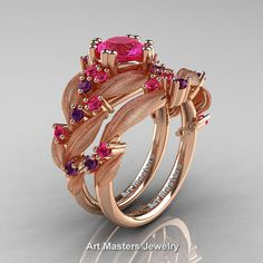 Nature Classic 14K Rose Gold 1.0 Ct Pink Sapphire by DesignMasters