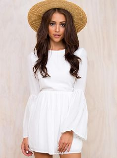 4 Carets Babydoll Mini Dress by: Princess Polly (Global) Polly (Global) Sheer Mini Dress, White Mini Dress, Long Sleeve Mini Dress, Bell Sleeve Dress, Sleeve Dresses, Dress Long, Fancy Dress, Dresses Online Australia, Princess Polly