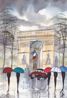 Art: Rainy Day Paris~Umbrella Chic by Artist KJ Carr