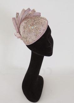 Items similar to Dutch design dusty pink and soft lavender sinamay base covered with beaded lace on comb on Etsy Sinamay Hats, Fascinators, Headpieces, Race Day Hats, Pink Fascinator, Crazy Hats, Feather Hat, Fancy Hats, Barbie