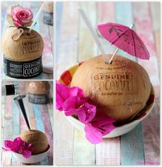 Coconut & rum in the nut.  Genuine Coconut: dit is een biologische kokosnoot met een speciale (gepatenteerde) opening. Het lipje is heel gemakkelijk te verwijderen. Bij de kokosnoot wordt voor het gemak een rietje geleverd.  Benodigdheden: • Genuine Coconut • rum  Bereiding:  1. Giet een klein beetje vocht uit de kokosnoot. 2. Giet er met een klein trechtertje (of pipetje) wat rum in. 3. Shake de kokosnoot. 4. Plaats een rietje en serveren maar.  Bron: Hanos