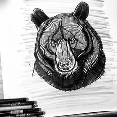 Finished the moody Bear artwork, started & finished with the brush pens ⚡️ www.thebearhug.com/