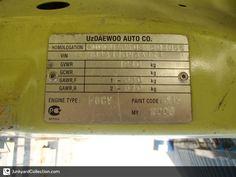 2008 Daewoo Matiz Number Plate Daewoo Id Tag