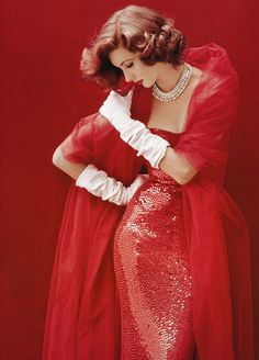 Suzy Parker in red sequined dress by Norman Norell, photo by Milton Greene, LIFE, September 1952