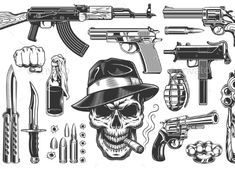 Buy Mafia and Gangsters Set by imogi on GraphicRiver. Mafia and gangsters set of monochrome vintage objects. Gangster Drawings, Gangster Tattoos, Mafia Gangster, Gangster Style, Tattoo Design Drawings, Cool Art Drawings, Tattoo Designs, Bullet Tattoo, Gangsters