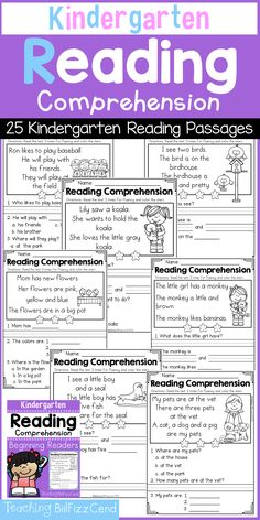 Reading Worksheets for Kindergarten Activities 2 or Kindergarten Reading Prehension and Kindergarten On – All The Shops Online Reading Comprehension Passages, Reading Fluency, Reading Skills, Teaching Reading, Kindergarten Reading Comprehension, Comprehension Worksheets, Reading Groups, Reading Strategies, Reading Worksheets