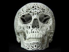 http://www.lostateminor.com/2011/09/30/3d-printed-filigree-skull-by-joshua-harker/