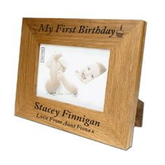 My First Birthday Personalised Oak Photo Frame