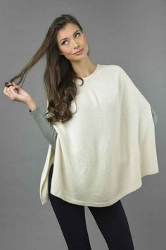 Pure Cashmere Plain Knitted Poncho Cape in Cream White front 2 Cashmere Poncho, Knitted Poncho, Cashmere Wool, Nice Cream, Cream White, Slouchy Beanie, One Size Fits All, Cape, Tunic Tops