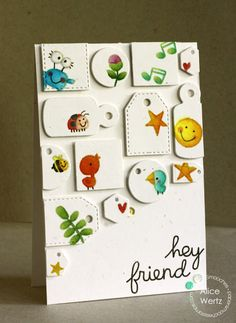 Hey Friend card by Alice Wertz for Paper Smooches - Inchies Dies, Dinky Doodles 1, Dinky Doodles 2, Delightful Greetings