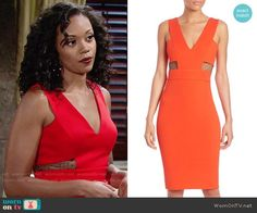 Hilary's red v-neck dress with mesh cutouts on The Young and the Restless.  Outfit Details: https://wornontv.net/73510/ #TheYoungandtheRestless