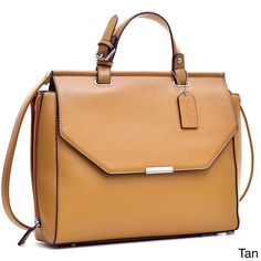 1b6d361dafc Dasein Faux Leather Briefcase Satchel with Expandable Zipper Sides