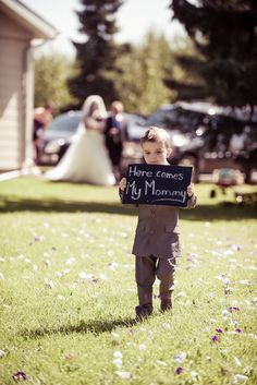 "Reword the sign to say ""Uncle Krusty here comes your girl"" #wedding photos with son #ring bearer #cute wedding photos"