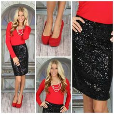 Love the black sparkly skirt; could be a cute Christmas outfit - Modern Vintage Boutique