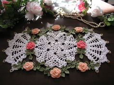 Rambling Rose Crochet Doily, Doilies, Cottage Chic, Beaded