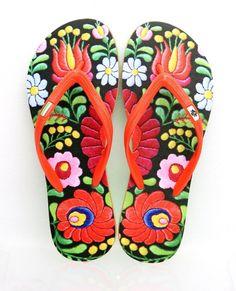 Matyó flip flop papucs, Talpramagyardesign, meska.hu