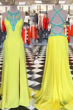 Yellow Long Prom Dresses,Beading Prtom Gowns,Prom Dresses,For Teens,Modest