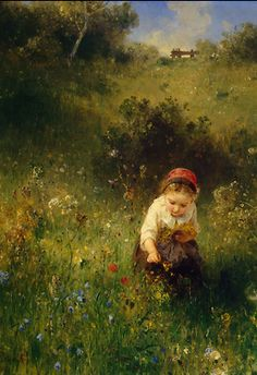 Girl in a Field, 1857. Ludwig Knaus (1829 – 1910), from Iryna