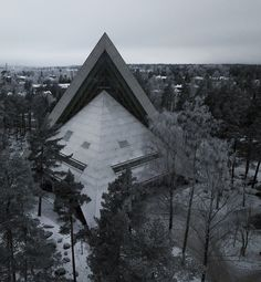 Finland is super dark in winter. How dark exactly? See this photo! You get to see a piece of weird Finnish architecture too. Alien Ship, Space Ship, Drone Photography, Illuminati, Helsinki, Small Towns, Finland, Dark, Architecture