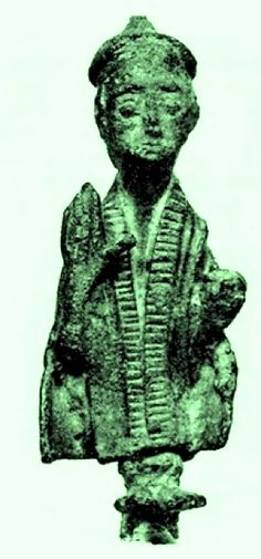 Nuragic priest with stole and hat - 9.2 cm (3.6 in) tall bronze statuette. Late Bronze Age. On display at Museo Archeologico di Cagliari, Italy