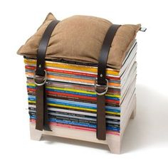 Adjustable Storage Stool. Tidy up your living room while adding extra seating for friends. These chair-cum-storage units built from a waxed, birch-wood base, adjustable leather straps and a cushion are convenient and cool. Keep your mags without sacrificing home décor. $200.00