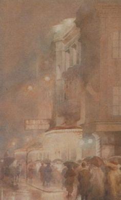 Yoshio Markino (1874-1956) - Evening Outside the Adelphi Theatre, London