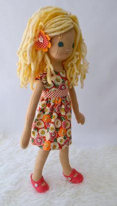 Handmade Rag Doll with Wardrobe by PhoebeandEgg on Etsy