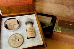 Shave Gift Set with Badger Brush, Stainless Steel Dish & Goats Milk Shave Soap by Bilbos92 on Etsy