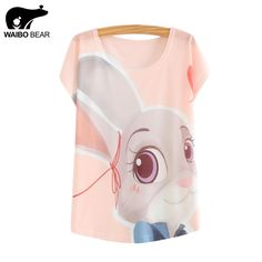 WAIBO BEAR zootopia New 2016 Women's T-shirt summer tees top Thin style Cute rabbit Judy print batwing sleeve T shirts women