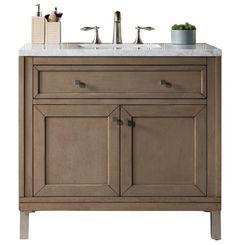 "You'll ❤ The James Martin Chicago 36 "" Whitewashed Walnut Single Vanity Carrara Marble Top 36 Vanity, Single Sink Bathroom Vanity, Wood Bathroom, Bathroom Furniture, Small Bathroom, Bathroom Vanities, Bathroom Ideas, Vanity Ideas, Bathroom Cabinets"