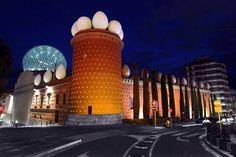 Salvador Dali Theatre-Museum in Figueres, Spain, Displays Dali's Signature Eggs on Main Tower