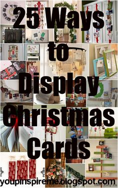 . You Pinspire Me .: 25 Ways to Display Christmas Cards #8-ribbons on cabinet doors