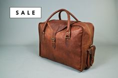 The Vagabond Large (second): Vintage style brown leather holdall duffle weekend bag cabin flight luggage unisex mens personalised monogram