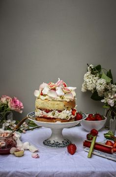 strawberry rhubarb + rose eton mess cake