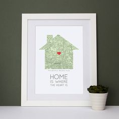 A stylish street map in the shape of a house with a heart to pinpoint your location.   I will have to make this.