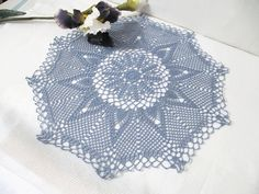 Lace Pineapple Crochet Doily Pastel Blue by DoliaGalinaCrochet