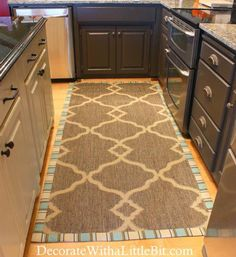 Customize an inexpensive rug with a fabric border, plus many more great rug ideas on a budget!