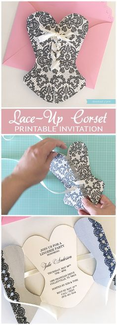 Lace-Up Corset Invitation - Invitatioin Card - Ideas of Invitatioin Card - DIY lace-up corset invitation that's so easy to make. If you can lace a shoe you can lace this corset! Perfect for a lingerie shower or milestone birthday. Corset Invitations, Lingerie Shower Invitations, Diy Invitations, Bachelorette Party Invitations, Invitation Templates, Trendy Wedding, Diy Wedding, Wedding Shoes, Lingere Party