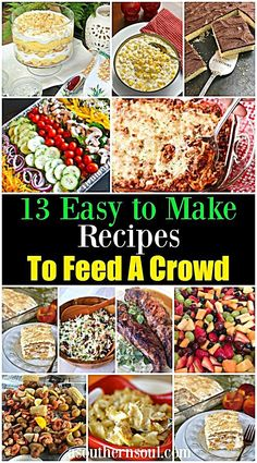 This collection of 13 easy to make recipes is a life saver when it's time to feed a crowd! They are excellent for parties, potlucks, covered dish suppers and pi Fluff Desserts, Cookie Desserts, Cooking For A Crowd, Food For A Crowd, Salads For A Crowd, Meals For A Crowd, Planning Budget, Party Planning, Feeding A Crowd