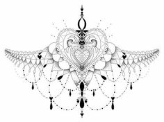 Victorian Under Sternum Tattoo | ohdeerdolly › Portfolio › Pretty Sternum Tattoo Dot Work Heart ...