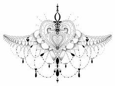 Victorian Under Sternum Tattoo | ohdeerdolly › Portfolio › Pretty Sternum Tattoo Dot Work Heart ...