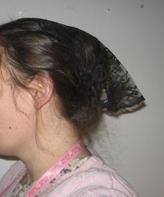 womens head covering christian hanging veiling bonnet Amish Mennonite black GUC | eBay