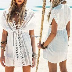 Women Summer Blouse Swimwear Crochet V-Neck White Boho Bikini Cover Up Utar