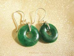 Elegant Dark Green Jade Donut ( 1.4cm X 1.4cm X 0.25cm)dangle Earring with 925 Sterling Silver Hook Earring - Fortune Feng Shui Jewelry by Fortune Jewelry & Healing Beauty, http://www.amazon.com/dp/B00D2TDOO0/ref=cm_sw_r_pi_dp_0vW0rb09CE6MV