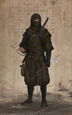 This is a conceptual process about Japan's mysterious killer - ninja by DLI Wu on ArtStation Fantasy Character Design, Character Design Inspiration, Character Art, Arte Ninja, Ninja Art, Dnd Characters, Fantasy Characters, Guerrero Ninja, Ronin Samurai